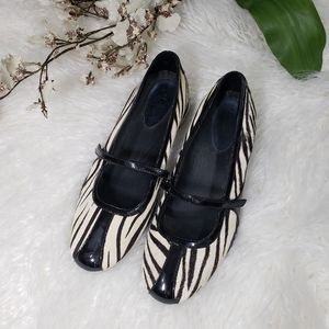 COLE HAAN Air Bria zebra ponyhair mary jane shoes